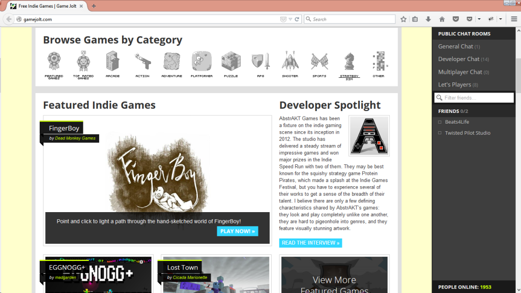 FingerBoy featured on GameJolt on 31 December 2014